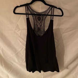 H&M Black racerback tank with crocheted detailing
